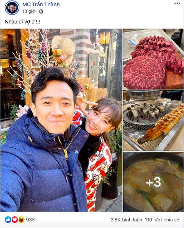 """""""Hộ tống"""" vợ sang Hàn Quốc quay show truyền hình mới, Trấn Thành không quên hẹn Hari Won đi ăn rồi """"tấn công"""" newsfeed giữa đêm - Ảnh 3."""