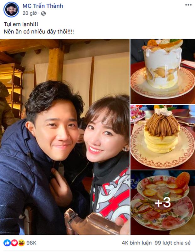 """""""Hộ tống"""" vợ sang Hàn Quốc quay show truyền hình mới, Trấn Thành không quên hẹn Hari Won đi ăn rồi """"tấn công"""" newsfeed giữa đêm - Ảnh 1."""