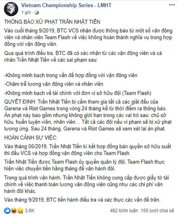 Giữa bão drama, BTC VCS quyết định cấm cửa ông Trần Nhật Tiến hoạt động LMHT 2 năm, cộng đồng game thủ loạn ý kiến! - Ảnh 1.