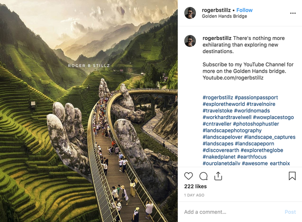 Tranh cãi nảy lửa quanh hình ảnh Cầu Vàng bị du khách nước ngoài photoshop thêm ruộng bậc thang: có ý nhắc nhở nhưng vẫn bị tác giả bật lại - Ảnh 1.
