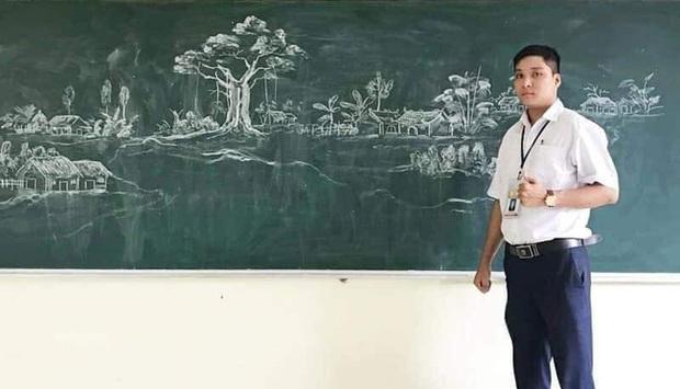 Thầy giáo vẽ tranh phong cảnh bằng phấn đẹp rụng rời, chi tiết nào cũng khiến dân mạng xuýt xoa thán phục - Ảnh 1.