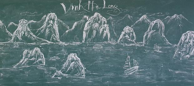 Thầy giáo vẽ tranh phong cảnh bằng phấn đẹp rụng rời, chi tiết nào cũng khiến dân mạng xuýt xoa thán phục - Ảnh 2.