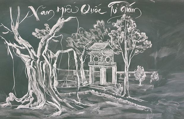 Thầy giáo vẽ tranh phong cảnh bằng phấn đẹp rụng rời, chi tiết nào cũng khiến dân mạng xuýt xoa thán phục - Ảnh 4.