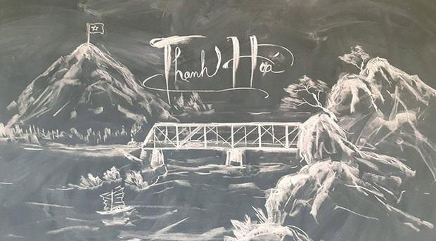Thầy giáo vẽ tranh phong cảnh bằng phấn đẹp rụng rời, chi tiết nào cũng khiến dân mạng xuýt xoa thán phục - Ảnh 5.