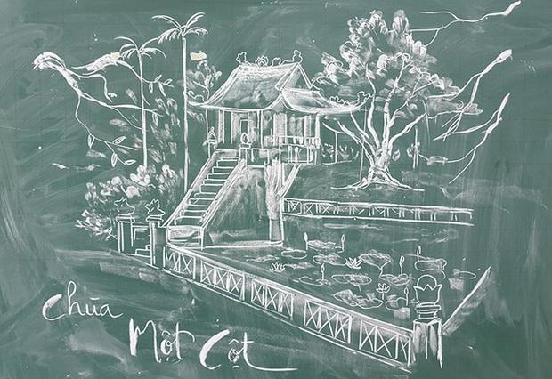 Thầy giáo vẽ tranh phong cảnh bằng phấn đẹp rụng rời, chi tiết nào cũng khiến dân mạng xuýt xoa thán phục - Ảnh 6.