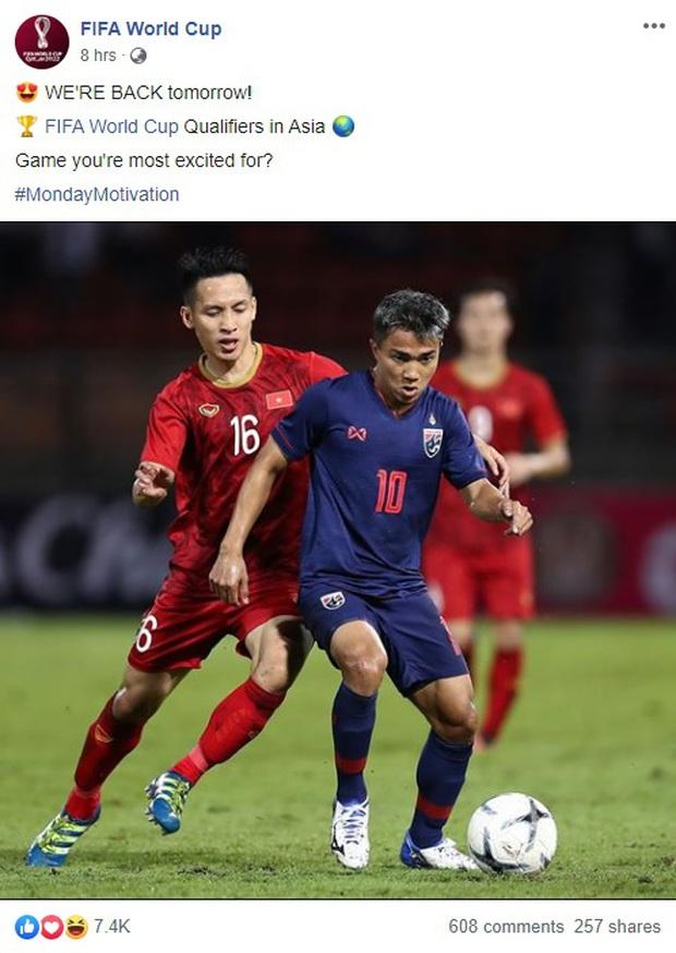 Fanpage chính chủ 44 triệu lượt thích của FIFA nhấn mạnh: Việt Nam đấu Thái Lan là trận cầu tâm điểm vòng loại World Cup - Ảnh 1.