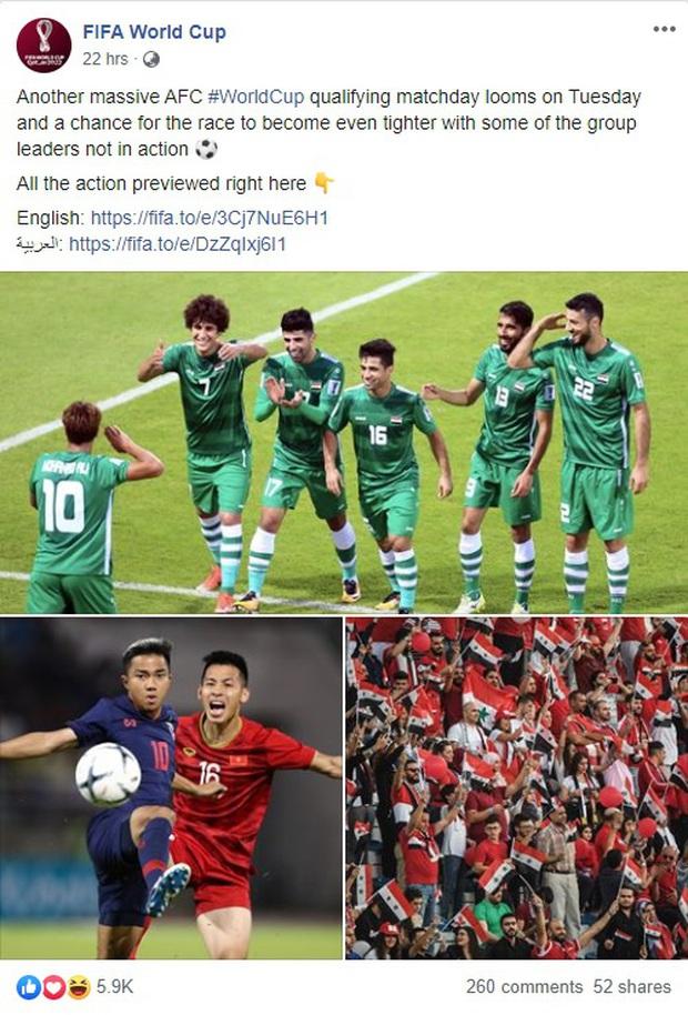 Fanpage chính chủ 44 triệu lượt thích của FIFA nhấn mạnh: Việt Nam đấu Thái Lan là trận cầu tâm điểm vòng loại World Cup - Ảnh 2.