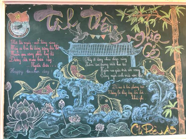 Đẹp không chê vào đâu được với những màn múa phấn trên bảng của học sinh, từng chi tiết xuất sắc như hoạ sĩ vậy - Ảnh 4.