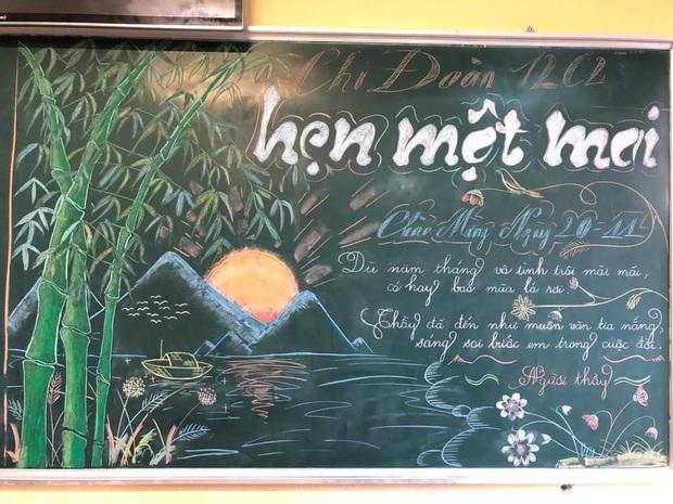 Đẹp không chê vào đâu được với những màn múa phấn trên bảng của học sinh, từng chi tiết xuất sắc như hoạ sĩ vậy - Ảnh 5.
