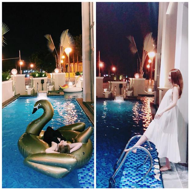 Phía trong căn biệt thự còn có hồ bơi riêng như một khách sạn 5 sao thứ thiệt.