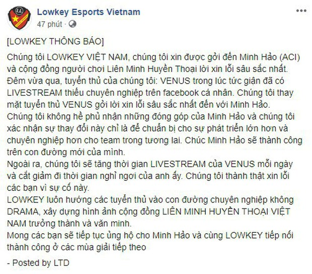 LMHT: Ban quản lý Lowkey lên tiếng xin lỗi HLV Minh Hảo, Venus tuyên bố chấm dứt mọi chuyện - Ảnh 3.