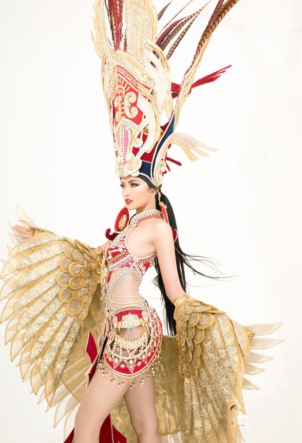 Quốc phục của Ngọc Châu tại Miss Supranational: Dài 5 mét, đính kết từ 10.000 mảnh ghép tại cánh chim Lạc cực hoành tráng! - Ảnh 4.