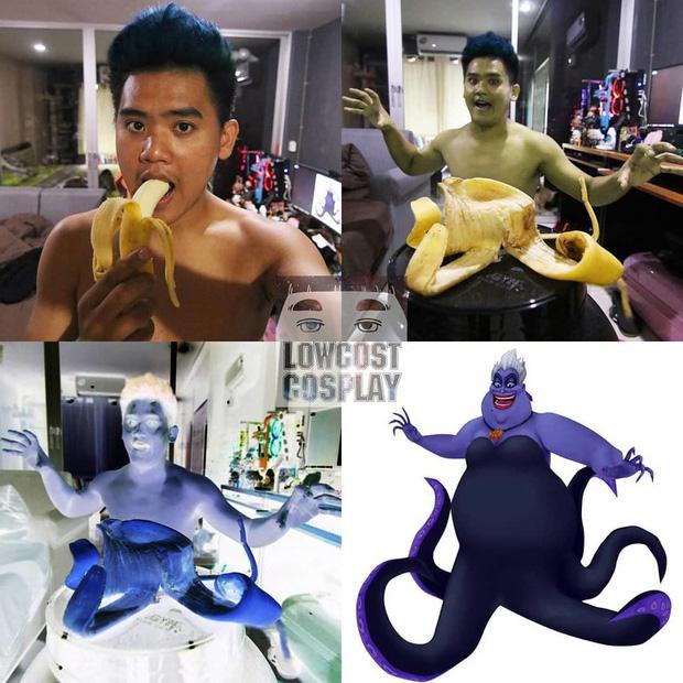 """""""Thánh Cosplay"""" sáng tạo đỉnh cao không tốn một xu khiến ai cũng phải chào thua: Tóc Son Goku làm từ chuối, râu Aqua Man làm từ băng keo - Ảnh 12."""