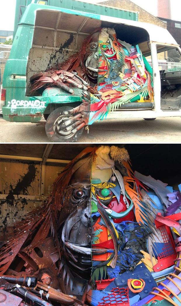 Những tác phẩm nghệ thuật tuyệt mỹ được tạo ra từ rác thải khiến ai xem xong cũng phải trầm trồ và suy ngẫm - Ảnh 11.