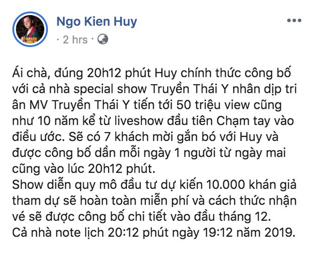 Ngô Kiến Huy chơi lớn không ai bằng: Làm show free vé cho 10.000 khán giả nhân dịp kỷ niệm 10 năm ca hát! - Ảnh 2.