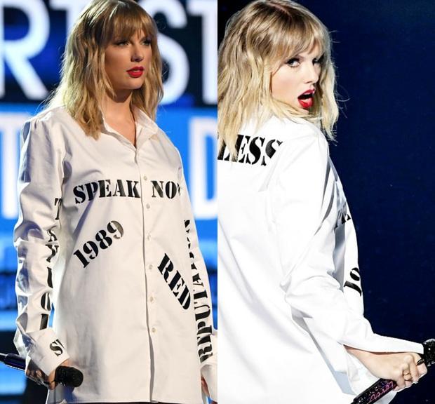 Từ chiếc áo cho đến cây đàn piano khắc chữ tinh xảo, Taylor Swift đều gửi gắm thông điệp kêu gào cho số phận 6 album cũ tại AMAs 2019? - Ảnh 4.