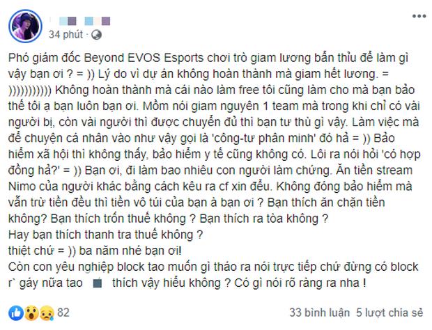 Cựu tuyển thủ Beyond - Phó giám đốc EVOS Esports bị tố giữ lương, ăn chặn tiền hợp đồng của nhân viên? - Ảnh 2.