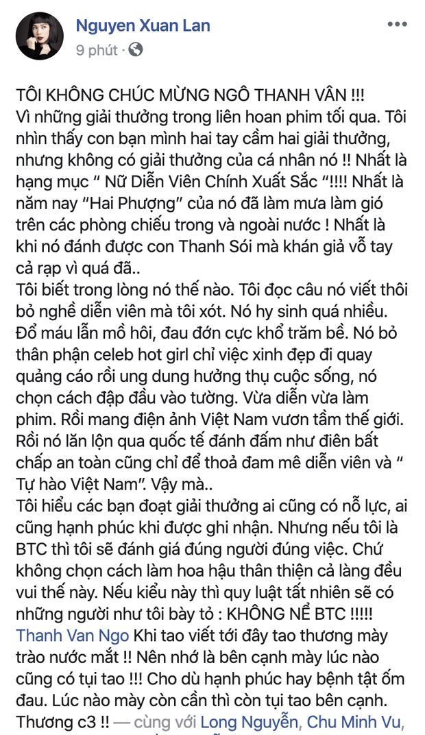 Xuân Lan phẫn nộ tố LHP Việt Nam 2019 bất công vì ngó lơ Ngô Thanh Vân, chính chủ đáp luôn: Chỉ mày hiểu bộ lòng tao! - Ảnh 2.