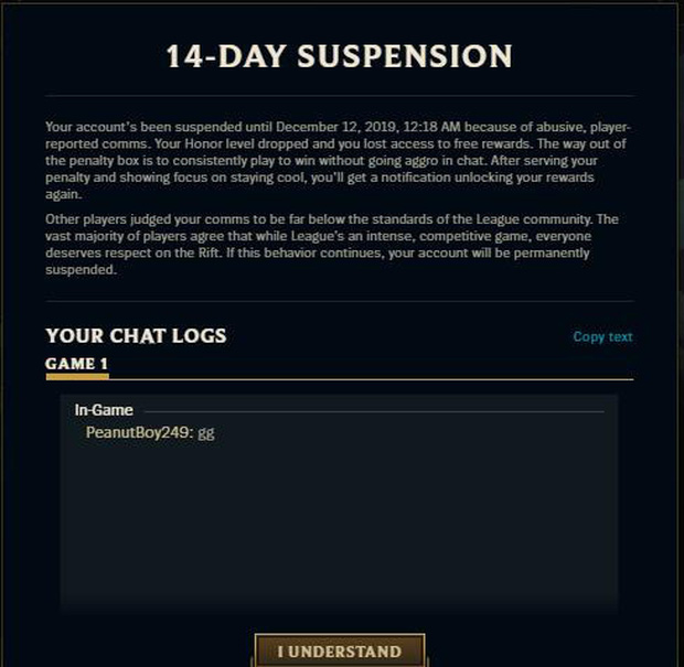 LMHT: Gõ mỗi chữ GG, game thủ này cũng bất ngờ bị Riot Games khóa tài khoản 14 ngày - Ảnh 2.