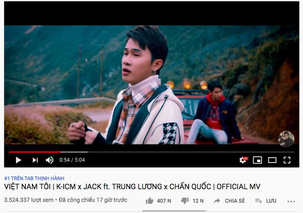 Tròn đúng 17 tiếng, Việt Nam Tôi của Jack và K-ICM chính thức hạ gục Hậu Hoàng để giữ vị trí #1 trending Youtube - Ảnh 1.