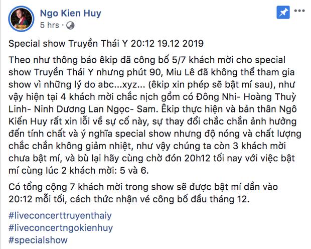 Miu Lê bất ngờ rút lui khỏi special show, quản lý Ngô Kiến Huy lên tiếng hờn mát: Giờ thì hiểu rồi, xin cạch luôn - Ảnh 1.