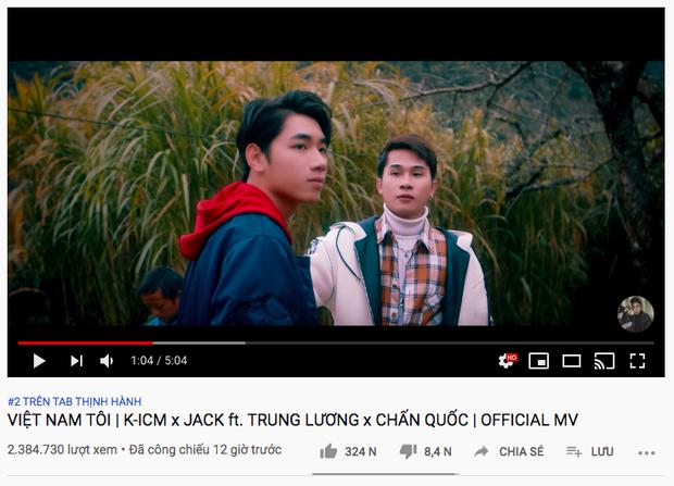 Sau lượt xem công chiếu tụt dốc, fan của Jack và K-ICM sửa sai đưa Việt Nam Tôi lên thẳng #2 trending Youtube chỉ sau 12 tiếng - Ảnh 3.