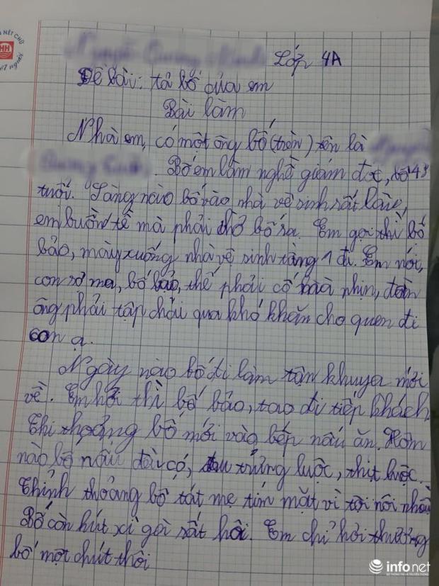 Cười ngất trước bài văn tả bố của học sinh lớp 4: Làm giám đốc, sáng nào cũng vệ sinh rất lâu, em buồn tè mà phải chờ bố ra - Ảnh 1.
