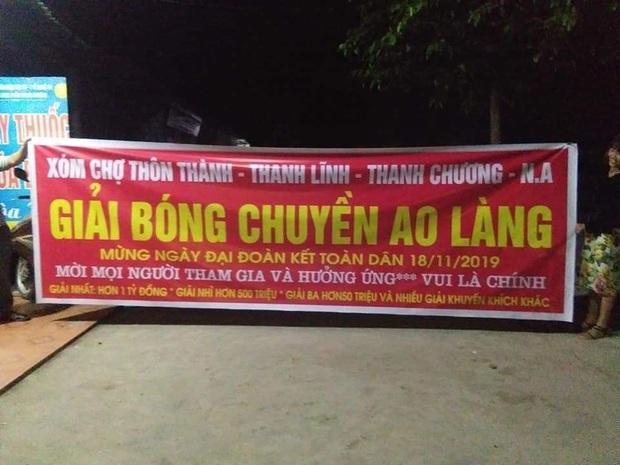 Xôn xao giải bóng chuyền ao làng vui là chính có tổng giải thưởng gần 2 tỷ đồng ở Nghệ An khiến dân mạng trầm trồ - Ảnh 1.
