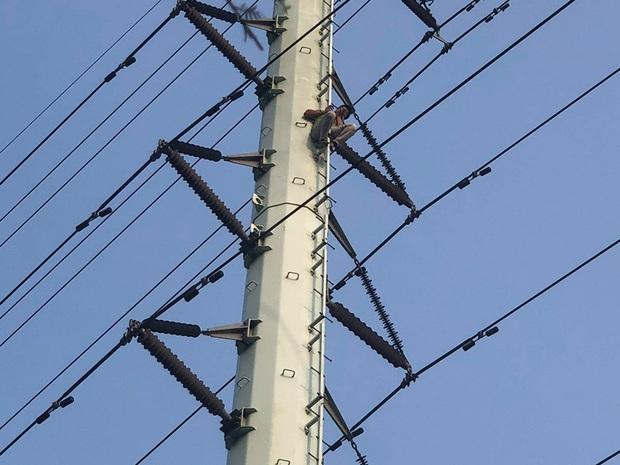 Hà Nội: Nam thanh niên trèo lên cột điện cao thế, tự trèo xuống sau 2 tiếng cố thủ - Ảnh 5.