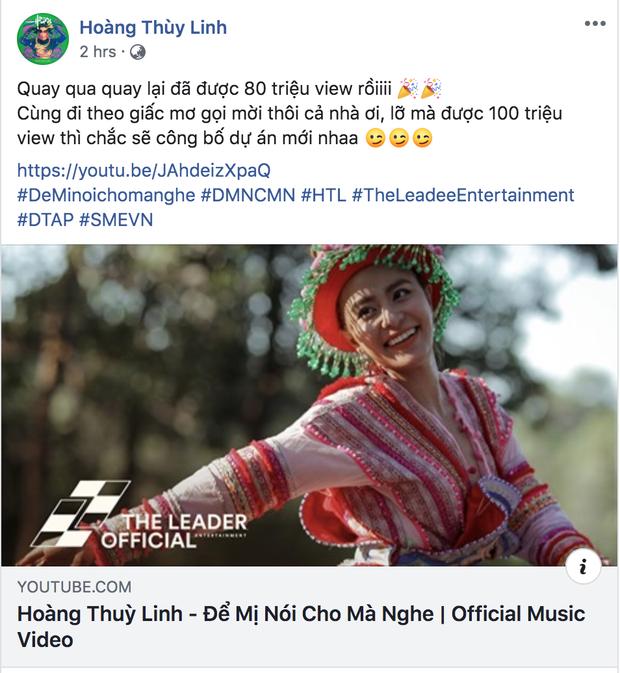 Đích thân Hoàng Thùy Linh kêu gọi fan cày view cho cô Mị chóng lên 100 triệu view, phần thưởng sẽ là 1 MV mới? - Ảnh 1.