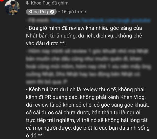 """Cuối cùng Khoa Pug cũng lên tiếng giải thích cho loạt vlog """"gây biến"""" ở Nhật: Kênh tôi làm không phải Khen Vlog, đã review là có khen có chê, có góc sáng góc khuất - Ảnh 4."""