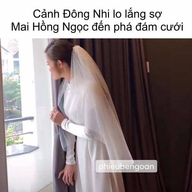 Cười ngất với những màn chế ảnh cực lầy sau lễ rước dâu: Khi Đông Nhi sợ Mai Hồng Ngọc đến cướp Ông Cao Thắng - Ảnh 1.