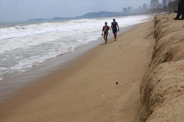 """Trước bão số 6: Kỳ lạ """"tường"""" cát cao gần 1m xuất hiện ở biển Nha Trang - Ảnh 1."""