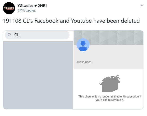 Tuyệt tình như YG: CL vừa rời đi đã bị xóa sạch Facebook lẫn Youtube, cuộc chia tay có dấu hiệu cơm không lành canh không ngọt? - Ảnh 1.
