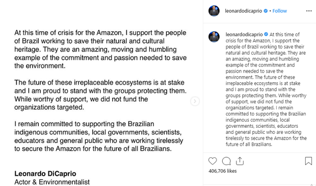 Vô duyên vô cớ bị đổ thừa đốt rừng Amazon, tài tử Leonardo DiCaprio phản ứng mạnh mẽ đáp lại Tổng thống Brazil - Ảnh 4.