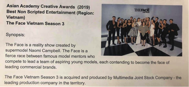 The Face Vietnam 2018 chính thức nhận giải Chương trình không kịch bản xuất sắc nhất Việt Nam tại Singapore - Ảnh 2.