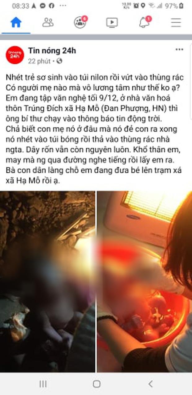 Hà Nội: Bé trai sơ sinh bị cho vào túi nilon rồi bỏ rơi trong thùng rác ven đường giữa trời đêm giá lạnh - Ảnh 1.