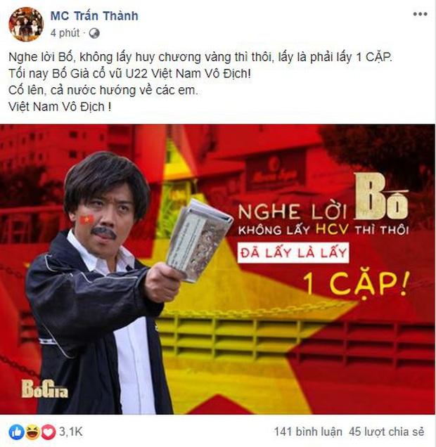 Ưng Hoàng Phúc, Quốc Trường cùng dàn sao Vbiz hừng hực khí thế, trao trọn niềm tin tới ĐT Việt Nam tại chung kết SEA Games 30 - Ảnh 2.