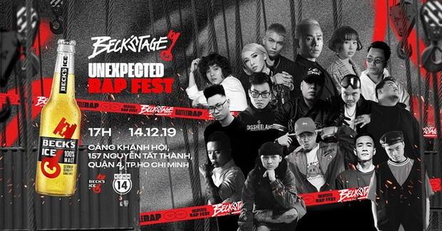"""Dàn line up """"căng cực quy tụ tại BeckStage - Unexpected Rap Fest: Big Daddy & Emily, Min, Tiên Tiên cùng các rapper huyền thoại sẽ làm bùng cháy sân khấu! - Ảnh 1."""