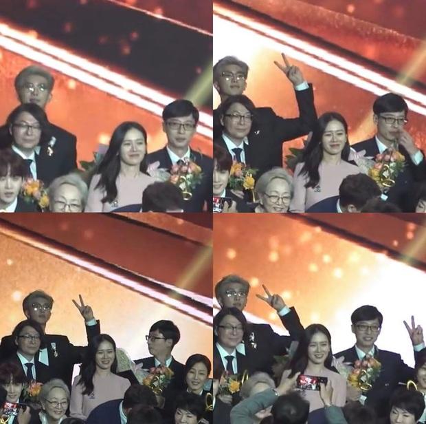 Khoảnh khắc gây bão của Yoo Jae Suk và thủ lĩnh BTS: Copy cách RM tạo dáng, đáng yêu tới mức chị đẹp Son Ye Jin bị lu mờ - Ảnh 2.