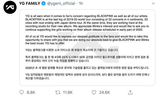 """YG vội vàng hứa cho BLACKPINK comeback vào đầu năm 2020 sau khi bị fan uy hiếp, BLINK phản ứng: """"Đừng hứa nữa tôi mệt rồi""""! - Ảnh 1."""