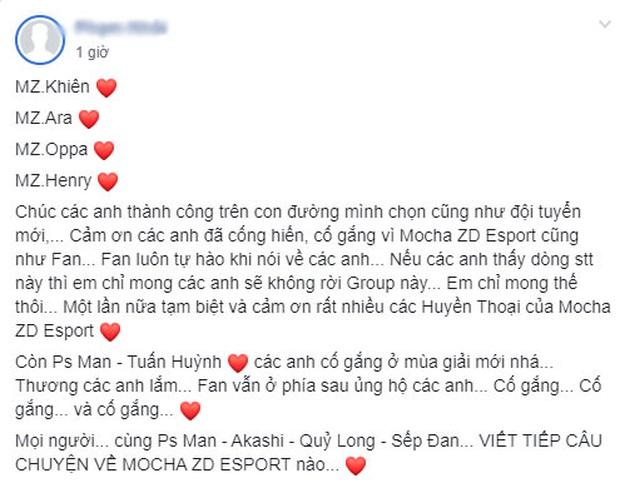 Mocha ZD Esports bất ngờ nói lời chia tay với 4 thành viên Khiên, Ara, Oppa và Henry - Ảnh 3.