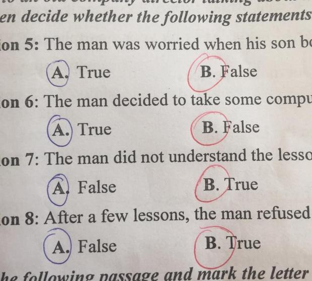 Phì cười trước muôn vàn lý do học trò khoanh đâu cũng truợt: Khoanh liên tiếp 1 đáp án, đang làm đúng thì nghe con cùng bàn xúi dại - Ảnh 4.