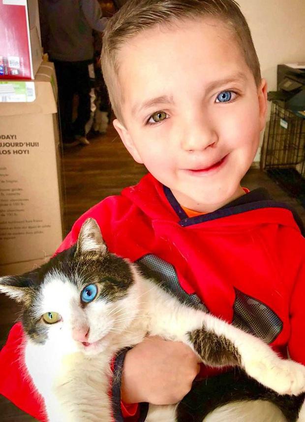Cùng màu mắt và khuyết tật ở miệng, số phận an bài cậu bé đáng thương và chú mèo hoang trở thành tri kỷ - Ảnh 2.