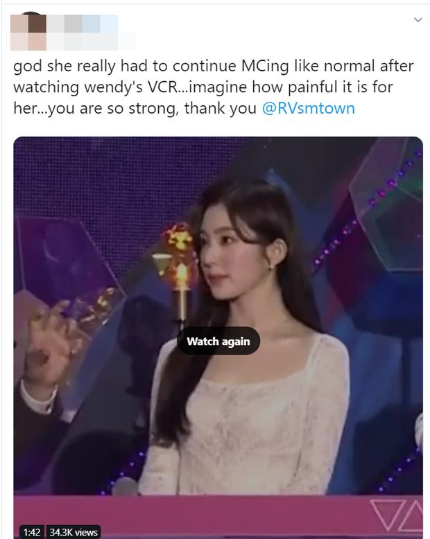 Irene (Red Velvet) cố ngăn nước mắt khi thấy Wendy xuất hiện trên VCR của KBS Gayo Daechukje khiến fan không khỏi xót xa - Ảnh 7.