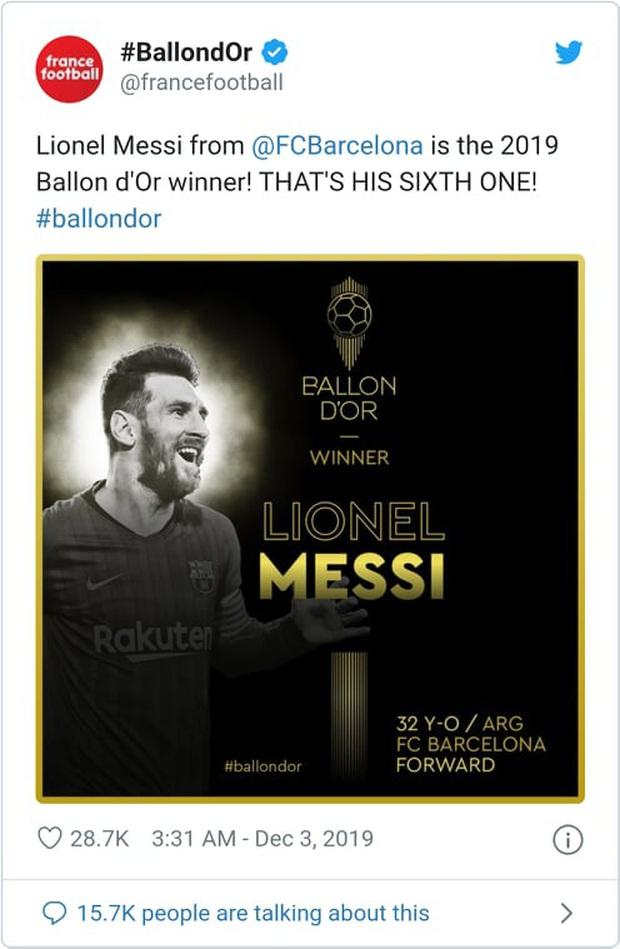 Truyền thông thế giới nói gì sau danh hiệu Quả bóng Vàng thứ 6 của Messi? - Ảnh 1.