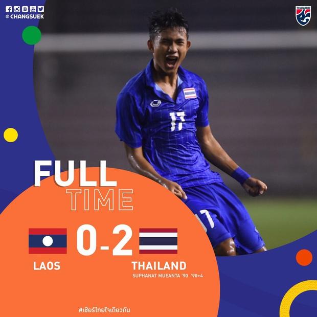 U22 Thái Lan 2-0 U22 Lào: Thần đồng tỏa sáng đúng lúc, U22 Thái Lan đánh bại Lào đầy kịch tính trên sân đấu ngập úng - Ảnh 2.