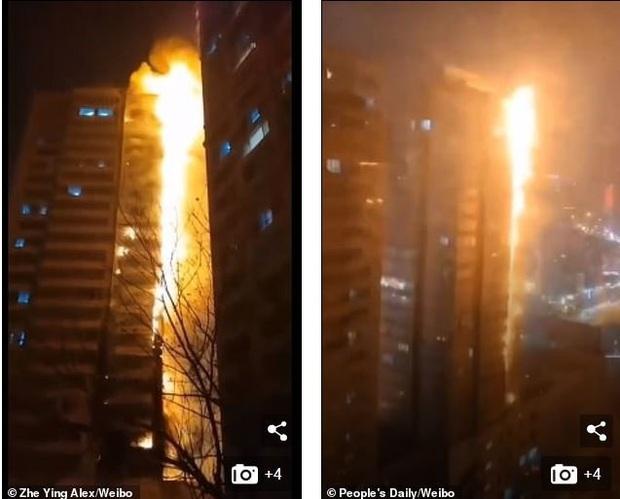 Tòa nhà 25 tầng ở Trung Quốc cháy lớn trong đêm - Ảnh 3.
