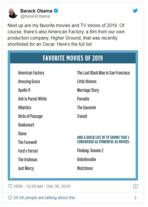 Nhìn list phim yêu thích nhất 2019 của Barack Obama vừa khoe mới thấy gu của cựu Tổng thống Mỹ không phải dạng vừa đâu! - Ảnh 2.