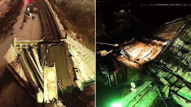 Khoảnh khắc tài xế thoát chết trong gang tấc khi cây cầu vượt trên cao đổ sập ngay trước mũi xe - Ảnh 3.